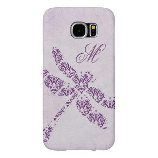 Purple Damask Dragonfly Wedding Samsung Galaxy S6 Cases