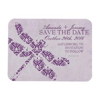 Purple Damask Dragonfly Wedding Rectangular Magnets