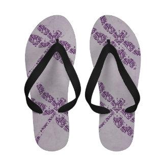 Purple Damask Dragonfly Wedding Sandals