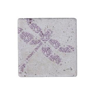 Purple Damask Dragonfly Wedding Stone Magnet