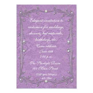 Purple Damask Elegance 13 Cm X 18 Cm Invitation Card
