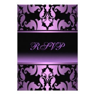 Purple Damask Elegant Quinceanera RSVP Personalized Invite