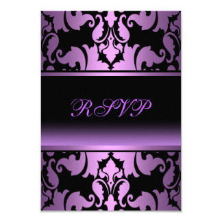 Purple Damask Elegant Quinceanera RSVP 3.5x5 Paper Invitation Card