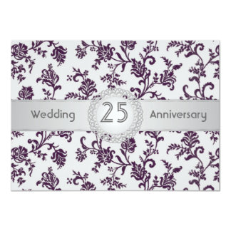 Purple Damask flowers, 25th Wedding Anniversary 11 Cm X 16 Cm Invitation Card