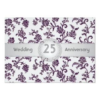 Purple Damask flowers, 25th Wedding Anniversary Card