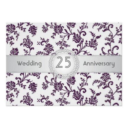 Purple Damask flowers, 25th Wedding Anniversary Invites