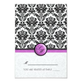 Purple Damask Folding Tent  Place Card 9 Cm X 13 Cm Invitation Card