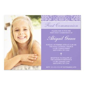Purple Damask Girl Photo First Communion Card