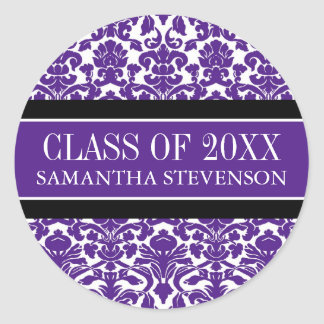 Purple Damask Graduation Custom Year Name Classic Round Sticker