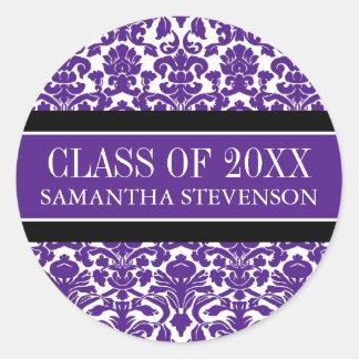Purple Damask Graduation Custom Year Name Round Sticker