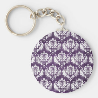 Purple Damask Grunge Basic Round Button Key Ring
