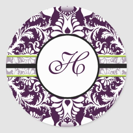 Purple Damask Initial Sticker Letter H Wedding