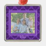 Purple Damask Keepsake Ornament