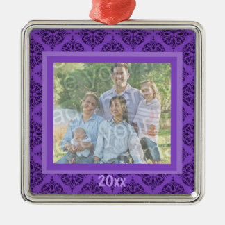 Purple Damask Keepsake Ornament
