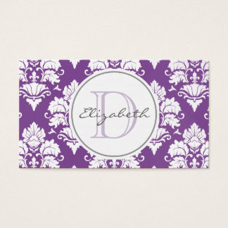 Purple Damask Monogram Appointment Card