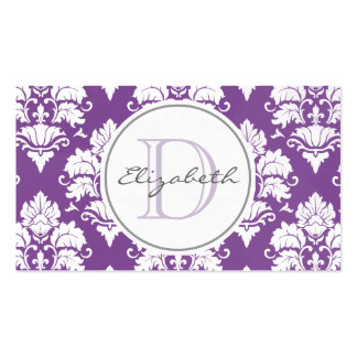 Purple Damask Monogram Appointment Card Pack Of Standard Business Cards