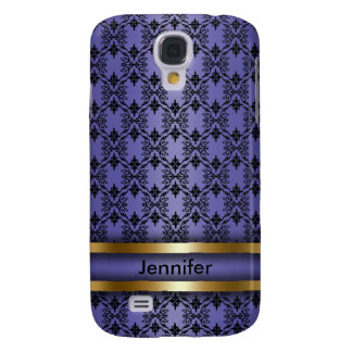 Purple Damask Monogram Cell Phone Case