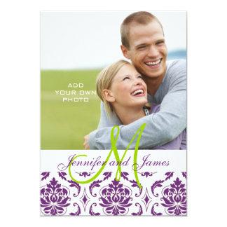 Purple Damask Monogram Photo Wedding Invitation