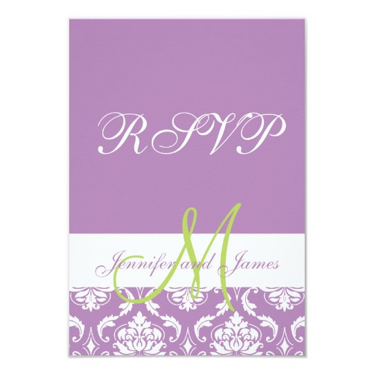Purple Damask Monogram Photo Wedding RSVP Card