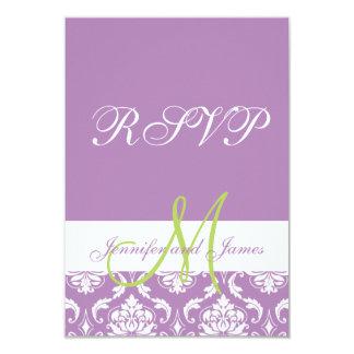 "Purple Damask Monogram Photo Wedding RSVP 3.5"" X 5"" Invitation Card"
