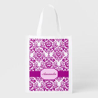 purple damask,monogram,recyclable grocery bag,