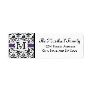 (Purple) Damask Monogram Return Address Labels