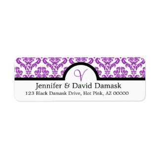 Purple Damask Monogram V Wedding Mailing Labels