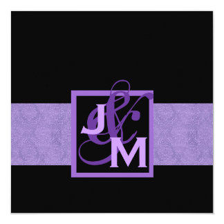 Purple Damask Monogram Wedding Card