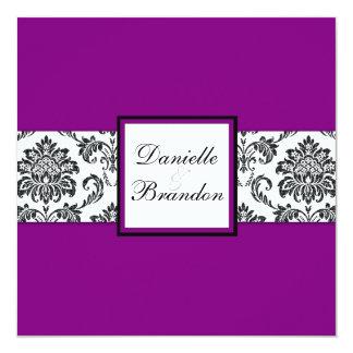 Purple Damask Monogram Wedding Invitation