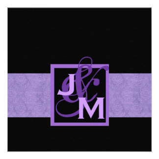 Purple Damask Monogram Wedding Custom Announcement