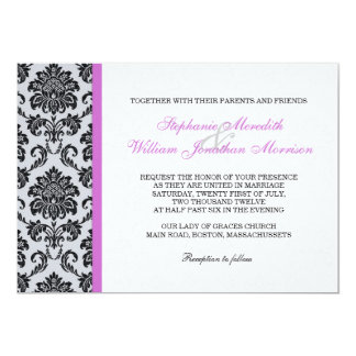 "Purple Damask Monogram Wedding Invitation 5"" X 7"" Invitation Card"