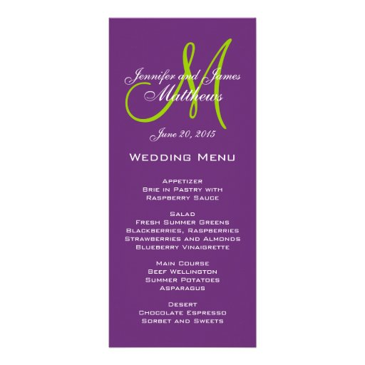 Purple Damask Monogram Wedding Menu Cards Rack Card Template