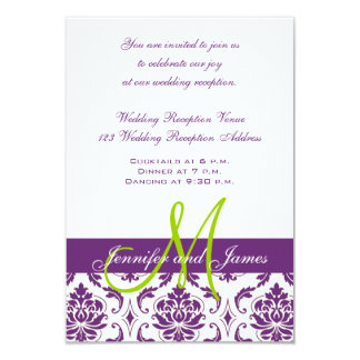 Purple Damask Monogram Wedding Reception 9 Cm X 13 Cm Invitation Card