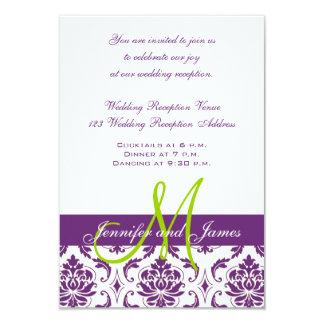 "Purple Damask Monogram Wedding Reception 3.5"" X 5"" Invitation Card"