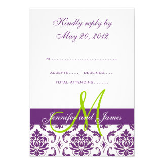 Purple Damask Monogram Wedding RSVP Invitation