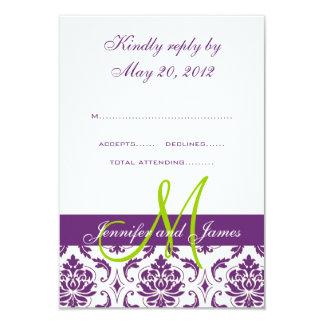 "Purple Damask Monogram Wedding RSVP 3.5"" X 5"" Invitation Card"