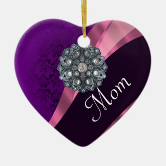 Purple damask mothers day christmas ornament