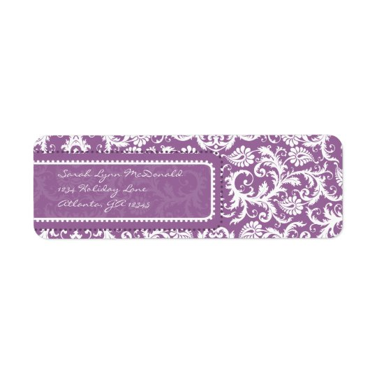 Purple Damask on Plum Return Address