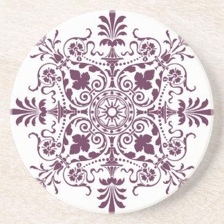 purple damask ornamental design drink coasters