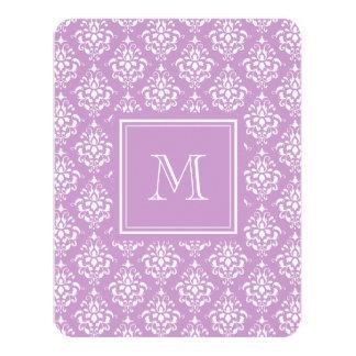 Purple Damask Pattern 1 with Monogram 11 Cm X 14 Cm Invitation Card