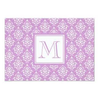 Purple Damask Pattern 1 with Monogram 9 Cm X 13 Cm Invitation Card