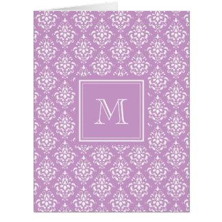 Purple Damask Pattern 1 with Monogram Card