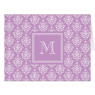 Purple Damask Pattern 1 with Monogram Cards