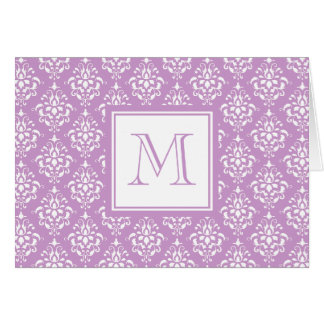 Purple Damask Pattern 1 with Monogram Greeting Card