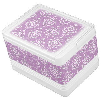 Purple Damask Pattern 1 with Monogram Igloo Cooler