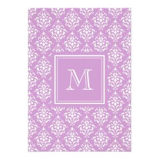 Purple Damask Pattern 1 with Monogram Personalized Invitation