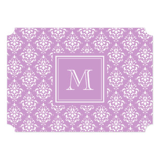 "Purple Damask Pattern 1 with Monogram 5"" X 7"" Invitation Card"