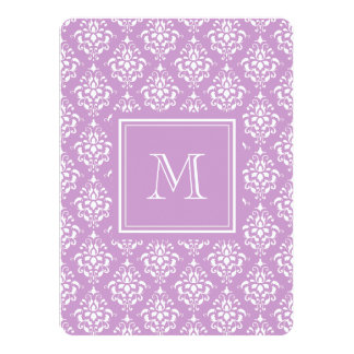 Purple Damask Pattern 1 with Monogram Custom Announcement