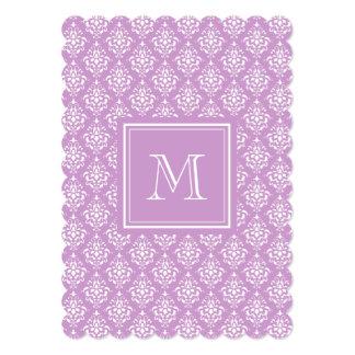 Purple Damask Pattern 1 with Monogram 13 Cm X 18 Cm Invitation Card