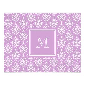 Purple Damask Pattern 1 with Monogram 4.25x5.5 Paper Invitation Card